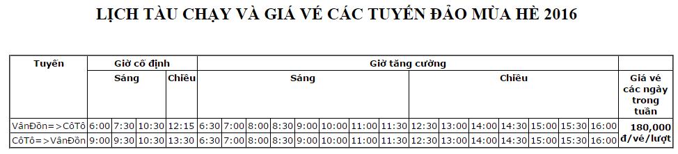 Lịch tàu chạy và giá vé của tàu Ka Long. Ảnh: kalong