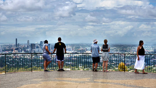 From the city, visitors can take a bus to the scenic point-tha Lookout Mt Cooot, where guests can enjoy panoramic Brisbane to Moreton Bay and the Glasshouse Mountains