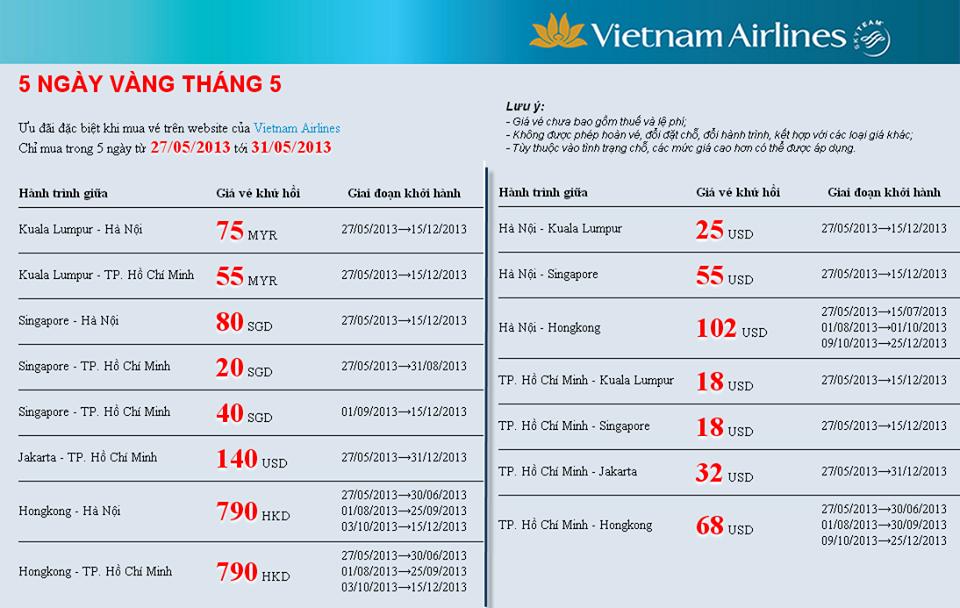 Chương trình 5 ngày vàng của Vietnam Airlines