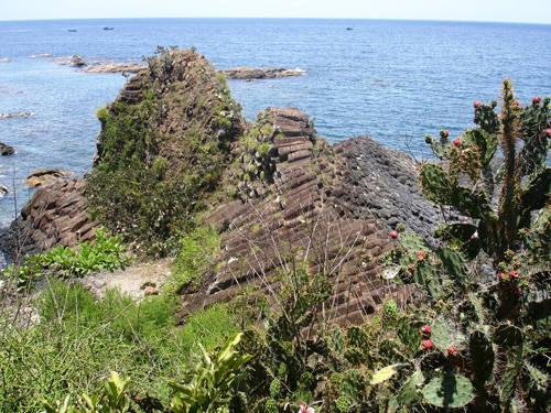 Gành Đá Dĩa với các trụ đá màu đen hình lăng trụ xếp liền nhau, hòn nọ nối hòn kia kề với sóng nước, chồng chất tầng tầng trông như chồng bát đĩa.