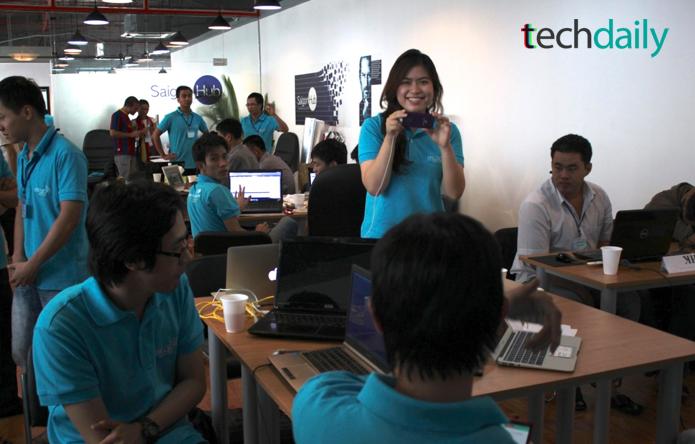 Không khí bên trong SaiGon Hub, các nhóm dự thị đã có mặt tại đây từ 29/06 trong vòng lựa chọn đầu tiên – Ảnh: Techdaily.vn