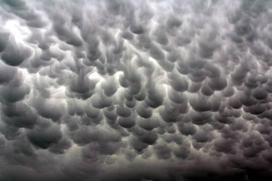 6. Mây mamatus Những đám mây mamatus chứa đựng phần phía dưới của những đám mây bình thường và thường được xem như dấu hiệu dự báo thời tiết sắp sửa chuyển biến xấu.