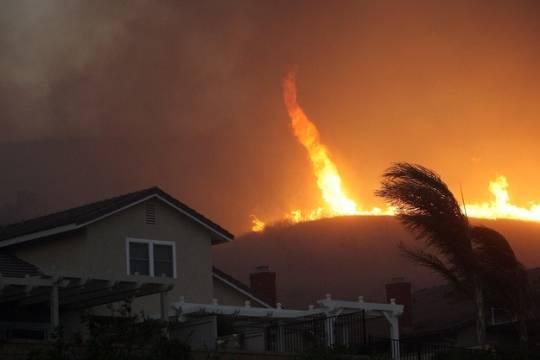 9. Lốc xoáy lửa Lốc xoáy lửa xuất hiện khi xảy ra tình trạng cháy rừng. Sức mạnh của nó lớn đến mức có thể quật ngã cây.