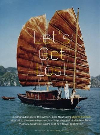 Charlie Hunnam và người mẫu Bảo Hoà dạo chơi trên vịnh trong bức ảnh trang bìa tạp chí GQ.