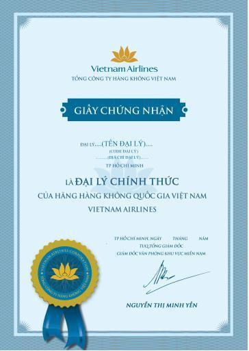 Giấy chứng nhận đại lý chính thức của VNA.