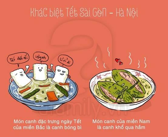 Món ăn đặc trưng ngày Tết của miền Bắc là canh bóng bì, món canh của miền Nam là khổ qua hầm.