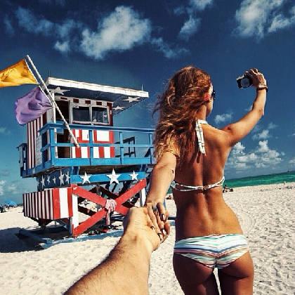 """""""Follow me to"""" bãi biển Miami, Mỹ, Istagram của Osmann vào ngày 8/12/2013."""