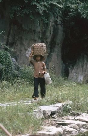 Người phụ nữ địu hàng bằng đầu ở vùng núi chùa Hương.