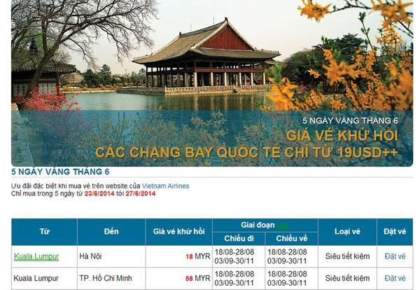 Chi tiết xem tại website Vietnam Airlines.