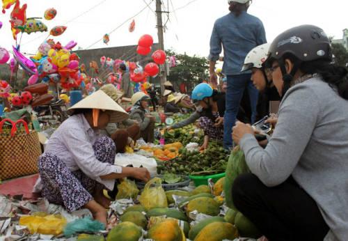 Người đến chợ Gò để mua bán các sản phẩm địa phương và là nơi gặp gỡ nhau ngày đầu xuân. Ảnh: laodong