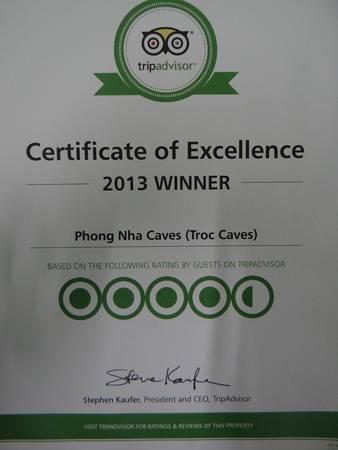 Website du lịch uy tín TripAdvisor đã bình chọn động Phong Nha - Kẻ Bàng là một trong những điểm đến du lịch tốt nhất thế giới vào năm 2013