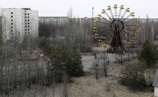 Image: A view of the abandoned city of Prypiat, near the Chernobyl nuclear power plant