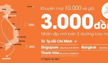 10000 vé siêu rẻ giá 3000 đồng của Jetstar