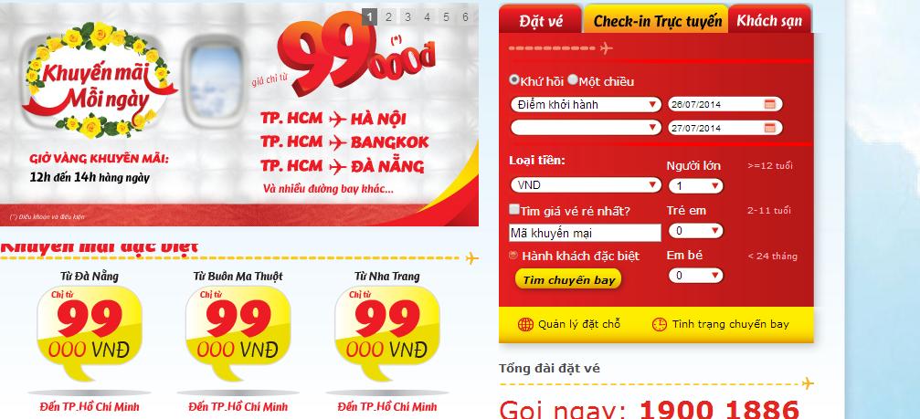 Khuyến mãi mỗi ngày giá chỉ từ 99.000 VND của Vietjet Air