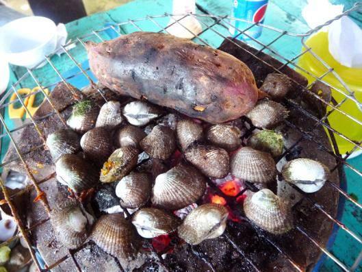 Du lịch Kiên Giang - Sò ốc vừa bắt lên nướng ăn ngay rất ngọt thịt