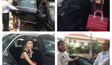 Diễn viên Hồng Ánh, ca sỹ Hoàng Thuỳ Linh, blogger Nicky Ngọc và diễn viên Chi Pu là những khách hàng đầu tiên, sử dụng dịch vụ của Uber. Ảnh: Uber