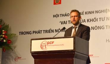 Ông Christian Brix Moller, phó đại sứ Đan Mạch tại Việt Nam phát biểu tại buổi hội thảo. Ảnh: Vietnam.um.dk