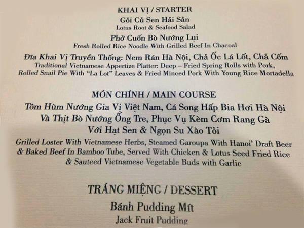 Thực đơn bữa tiệc chiêu đãi Beckham tại Hà Nội.