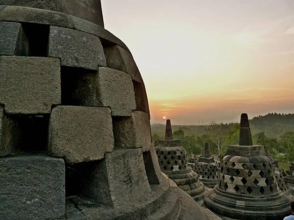 Một góc ngôi chùa Borobudur.