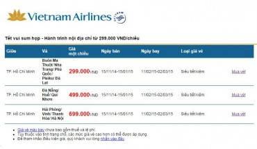 Chi tiết đặt vé tại website Vietnam Airlines.