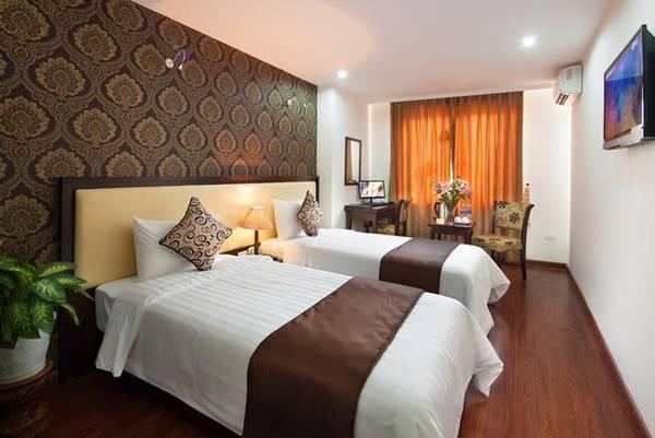Phòng nghỉ ấm cúng của khách sạn May De Ville Hà Nội.