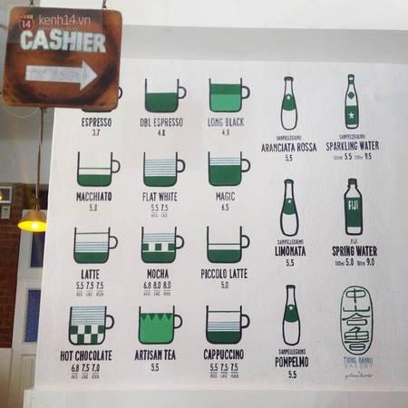 Menu đồ uống tại Tiong Bahru Bakery.