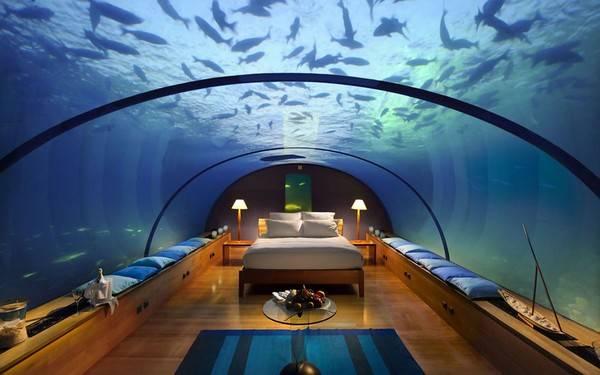Khách sạn với căn phòng ngủ tuyệt vời ở độ sau khoảng 5 mét dưới mực nước biển của Ấn Độ Dương, bao quanh bởi một rạn san hô và được bọc bằng kính cường lực trong suốt.