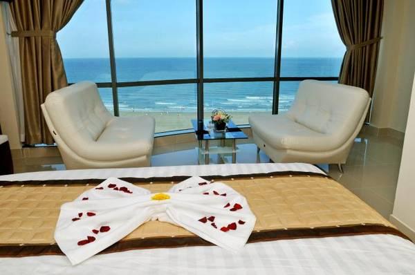 Phòng nghỉ khách sạn Corvin Vũng Tàu với tầm nhìn tuyệt đẹp.