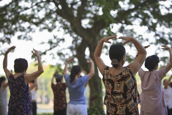 Vào mỗi buổi sáng sớm, trong công viên bạn sẽ được chứng kiến rất nhiều người Việt Nam tập thể dục trong nắng sớm.