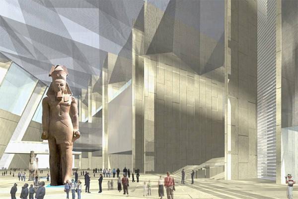 Bảo tàng Đại Ai Cập (mở cửa vào mùa thu 2015) nằm giữa kim tự tháp của Gizavà Cairo.