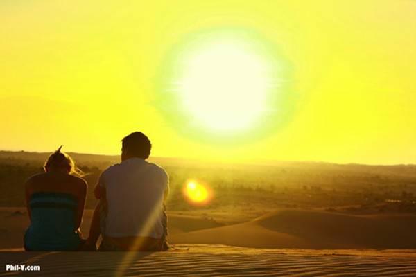 Hoàng hôn trên bãi cát vàng của Mũi Né.