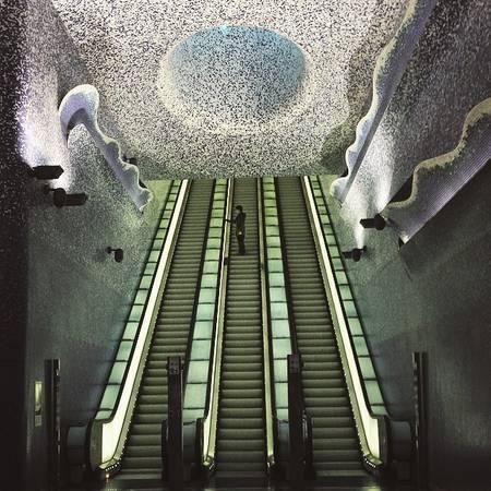 Ga tàu điện ngầm thành phố Napoli (Italy).