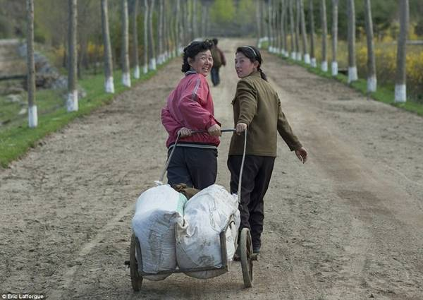Những người phụ nữ kéo xe chở hàng quanh làng.