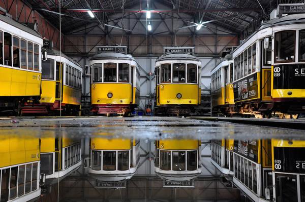 Lisbon, Bồ Đào Nha lúc 04:00 AM. Tác phẩm 'Yellow Trams' (Tàu điện vàng), chụp bởi nhiếp ảnh gia Joao Coutinho.