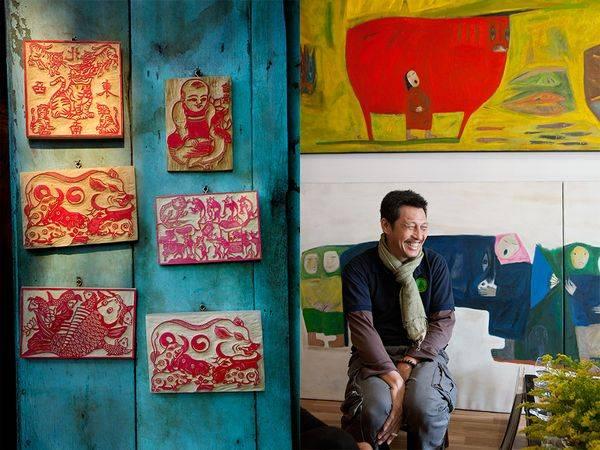 Bên trái: Bức ảnh được tác giả chụp tại một cửa hàng nhỏ trên Phố cổ Hà Nội chuyên bán các mộc bản để trang trí. Một tấm mộc bản hình chú cọp sẽ mang lại cho bạn may mắn hay chiếc mộc bản hình đức Phật sẽ mang lại cho bạn hạnh phúc và sức khỏe.