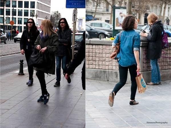 <strong>Brussels, Bỉ: </strong>Người Bỉ thường mặc quần jeans, áo ba lỗ bên trong áo sơ mi, đồ dệt kim nhẹ cho mùa hè, và áo dài tay chất liệu dày cùng áo khoác cardigan vào mùa đông. Thời tiết ở Brussels có thể thay đổi chóng mặt trong ngày, vì vậy mọi người thường mặc nhiều lớp để tiện cởi ra mặc vào. Do phần lớn các đường phố đều trải sỏi, người Bỉ chuộng giày bệt hơn giày cao gót.