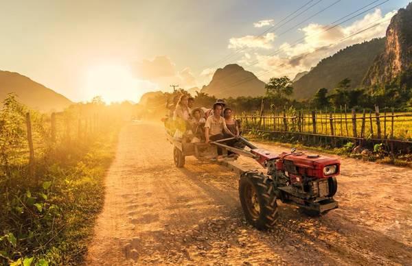 Khung cảnh thanh bình trên đất Lào. Ảnh: Facebook Hội Người Việt Tại Lào