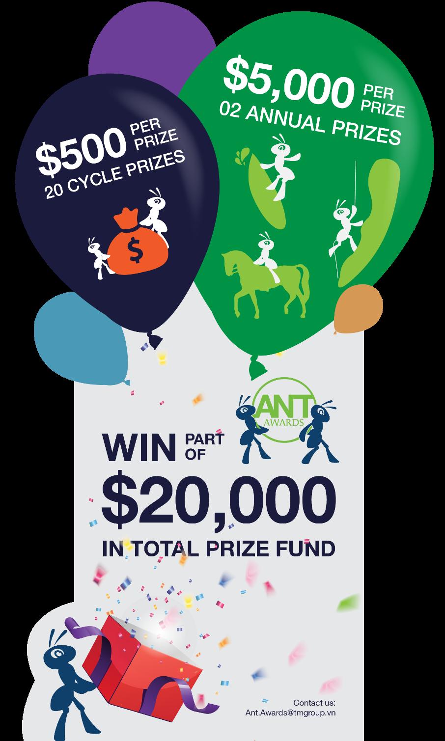 Tổng giá trị của giải thưởng Ant Awards  lên đến gần 20.000 USD