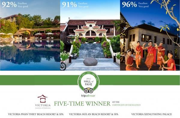 3 khu nghỉ dưỡng này được trao giải thưởng Hall of Famebởi đã có 5 năm liên tiếp đón nhận giải Certificate of Excellence.