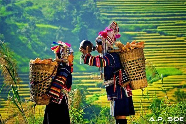 Những cô gái dân tộc Akha tại khu vực tam giác vàng.