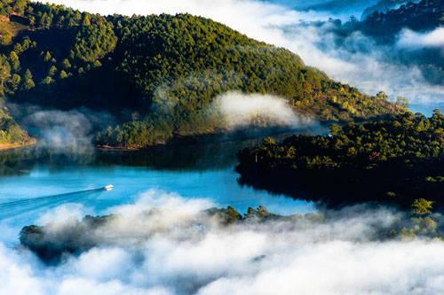 """Nếu bạn là người yêu thích khám phá và mạo hiểm, đỉnh Pinhatt sẽ là một nơi """"săn mây"""" bạn không thể bỏ qua. Từ đỉnh, bạn sẽ thu vào tầm mắt hồ Toàn Lâm với một góc nhìn mới lạ. Với độ cao hơn 1.600 m, đây là thử thách không phải ai cũng có thể vượt qua. Sau khi chinh phục thành công đỉnh Pinhatt, du khách có thể ghé thăm khu căn cứ núi Voi nằm cách đó chừng vài trăm mét phía bờ Đông. Đây là khu căn cứ cách mạng trọng điểm thời chống Pháp và Mỹ của người dân Lâm Đồng."""