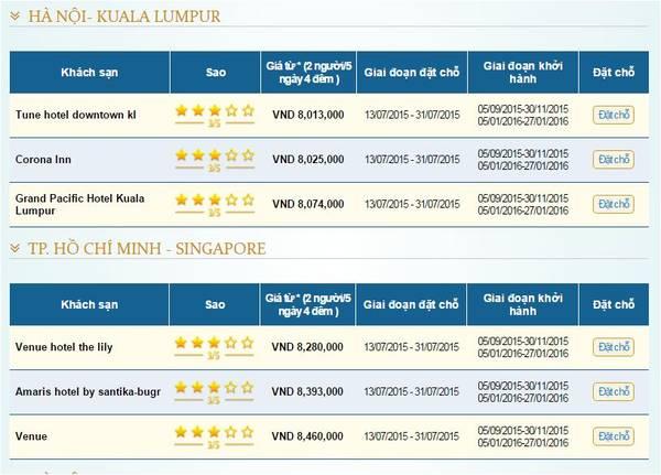 Gợi ý những mức giá cực hấp dẫn từ VNA Holidays.