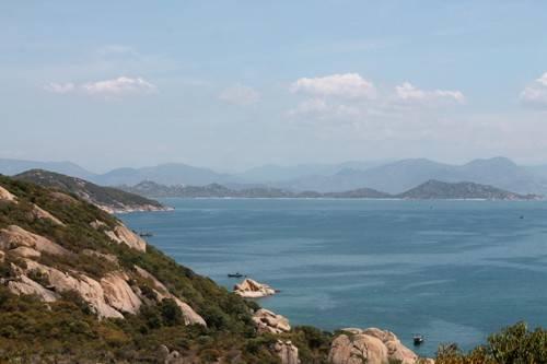 Quang cảnh đảo Bình Ba nhìn từ trên cao. Ảnh: Phương Thu Thủy.
