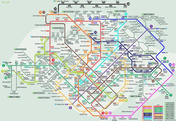 Bản đồ tàu điện ngầm ở Singapore.