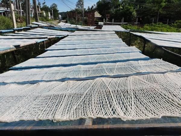 Những tấm phở sắn được phơi dọc các con đường, nơi gò đôi - Ảnh: T.LY