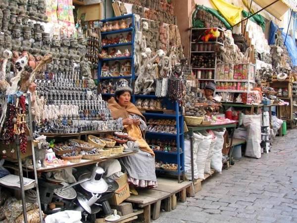 Chợ phù thủy (La Paz, Bolivia): Đây là một trong những chợ đường phố lạ lùng nhất Nam Mỹ. Nằm ở thủ đô cao nhất thế giới - La Paz (3.400 m so với mực nước biển), khu chợ này có hàng loạt cửa hàng nơi các phù thủy, thầy lang, nhà chiêm tinh, thầy bói, pháp sư... sống và hành nghề.