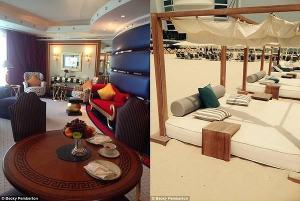 Phòng của Becky (bên trái) có khu phòng khách tiện nghi, thoải mái. Đồ ăn như hoa quả, bánh... được đưa tới phòng vài tiếng một lần. Du khách gần như không cần phải rời khỏi đây, trừ khi để thư giãn trên bãi biển riêng của khách sạn.