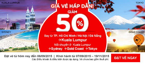 Giảm 50% các chuyến bay đến Kuala Lumpur