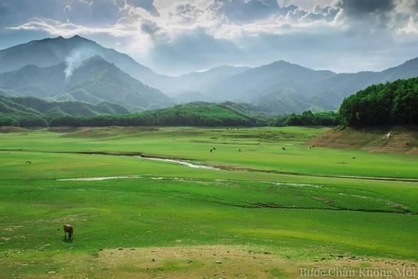 Vào mùa nước cạn, lòng hồ Hòa Trung trở thành nơi cắm trại hay tổ chức những buổi dã ngoại, với thảm cỏ xanh mướt trải dài như thảo nguyên.