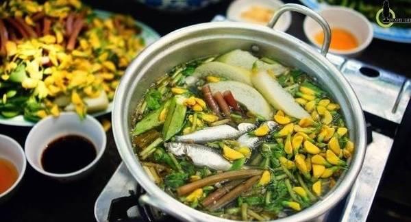 Món ăn đặc trưng vào mùa nước nổi. Ảnh : Nam Chấy.